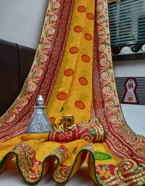yellow georgette fabric bandhani print work casual