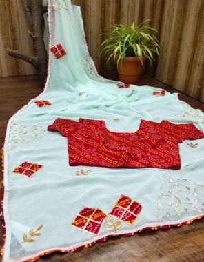 sky blue saree - pure chiffon saree | blouse - mango banglri stitch blouse ( max up to 42 size)  fabric embroidery + bandhej print work casual