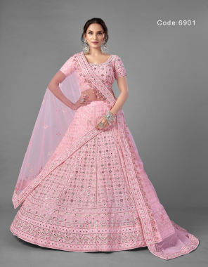 pink blouse - georgette  | lehenga - georgette | dupatta - soft net | size - upto 42 inches bust & waist  fabric thread + sequance + foil mirror work casual