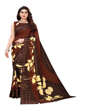 brown georgette printed saree soild design with border georgette blouse fabric printed work casual