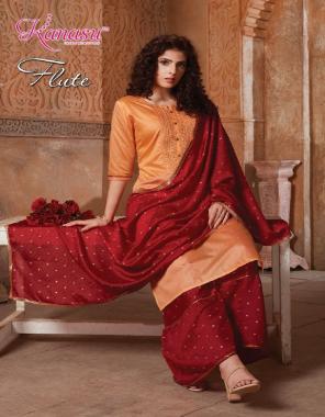 orange top - daible silk | bottom - daible silk butti sharara pattern | dupatta - daible butti silk | top length - 42 | bottom length - 40 fabric silk butti work casual