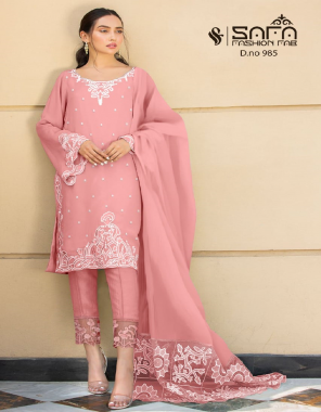 pink top - pure georgette | bottom  - cotton strachable | dupatta - designer | inner - pure santoon fabric embroidery work casual