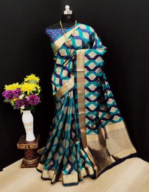 blue banarasi silk  fabric jacquard + weaving work casual