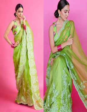 parrot green organza silk wirh banglory silk blouse [ master copy ] fabric embroidery work casual