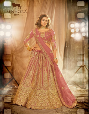 pink lehenga - net with silk satin 2 layer inner with heavy quality can can | blouse - net with inner | dupatta - net ( cut - 2.40 m) | size - blouse - unstitched | lehenga - semi - stitched fabric embroidery + heavy stone work  work casual