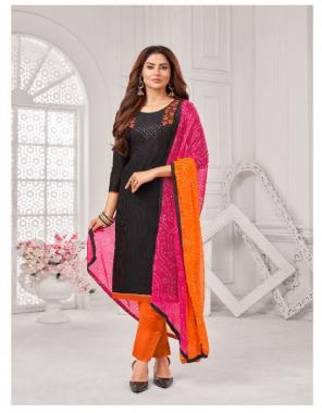 black top - jharana slub with work| bottom - semi cotton | dupatta - chiffon mill print fabric embroidery work casual