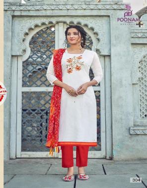 white kurti - modal chanderi with hand work   inner - heavy crep  pent - cotton slub   dupatta - bandhani  fabric hand work work casual