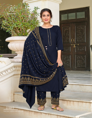 navy blue top - heavy 14kg rayon with guaranteed foil print   pent - heavy 14 kg rayon with guranteed foil printed   dupatta - heavy 14kg rayon with guaranteed foil print   top length - 46 inch length  fabric foil printed work casual