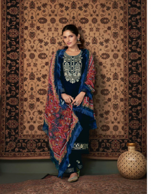 navy blue top - pure velvet with inner stitch with work and additional touch | bottom - pure velvet with work | dupatta - pure velvet with digital printed for additonal lace fabric fancy work work casual