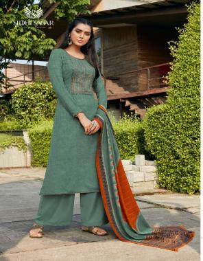 rama green top - pure pashmina print with fancy kantha embroidery ( 2.50 m)   dupatta - pure pashmina kantha print stall excellent premium quality ( 2.50 m)   bottom - european spun pasmina ( 3.00m)  fabric printed work casual
