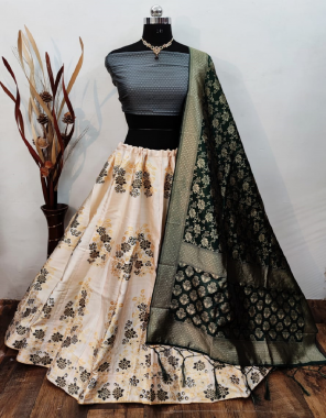 white material - banarasi brocade lehenga and non stitch blouse | dupatta - length approx 2.25 m 36inch heights ( heavy banarasi dupatta with tassels ) | lehenga height - 42 | waist - 40-42 | length - 2.25 m plus fabric jacquard + weaving work casual