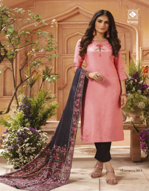 pink top - pure heavy maslin with hand work n moti n pul work wid heavy cotton mal inner | bottom - pure heavy jam satin silk | dupatta - silk dupatta with embroidery work and mal cotton dupatta with print and digital print  fabric hand & moti work work casual