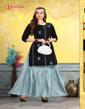 black rayon fabric embroidery and sequance work casual