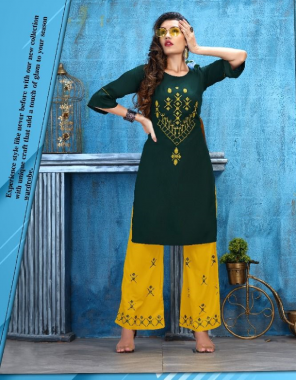 dark green rayon fabric embroidery work casual