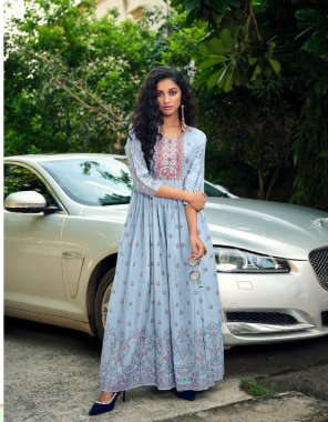 sky blue pure heavy lawn mul prints with embroidery  fabric embroidery work casual
