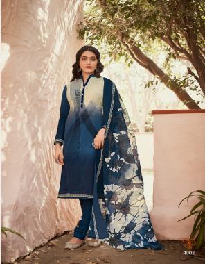 rama blue top - 2.50 m soft cotton print  bottom - 2.50 m soft cotton   dupatta - 2.25 m soft cotton print fabric printed work casual