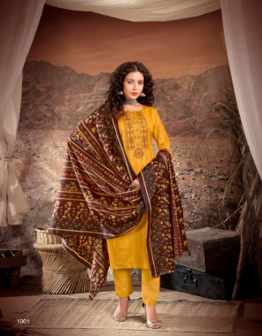 yellow top - cotton checks with embroidery ( 2.40 m) | bottom - heavy cotton pc dyed (2.40 m) | dupatta - digital style printed cotton dupatta ( 2.20 m) fabric embroidery work casual