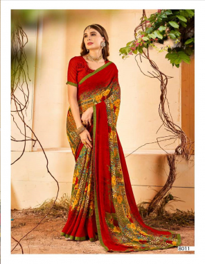 red georgette  fabric printed work casual