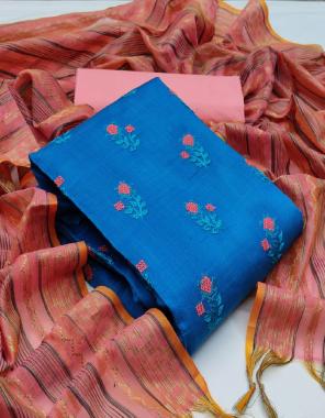 sky blue top - banarasi cotton ( 2 m)   bottom - cotton ( 2 m)   dupatta - banarasi jacquard ( 2.25 m)  fabric embroidery work festive