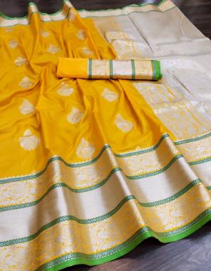 yellow banarasi silk fabric jacquard work casual