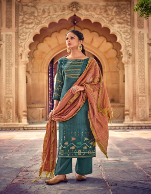 rama blue top - pure pashmina dobby digital printed with hand work on neck   bottom - solid twill pashmina   dupatta - pure weave dupatta  fabric digital printed work casual