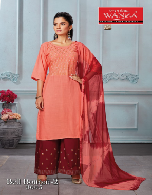 peach kurti - finest grade of rayon   bottom - rayon plazzo with embroidery fabric embroidery work casual
