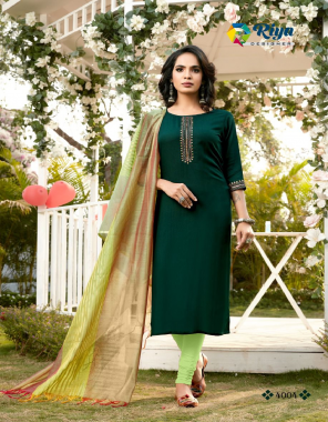 dark green 100% heavy 17kg rayon with embroidery work with banarasi dupatta fabric embroidery work casual