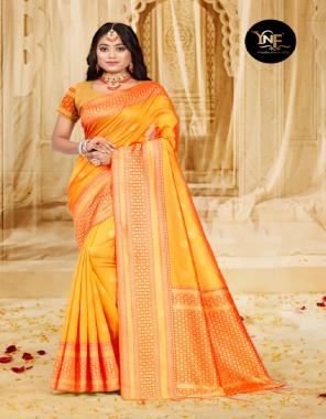 yellow art silk fabric jacquard + weaving work casual