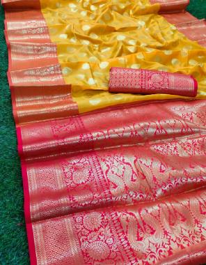 yellow banarasi silk fabric jacquard + weaving work casual