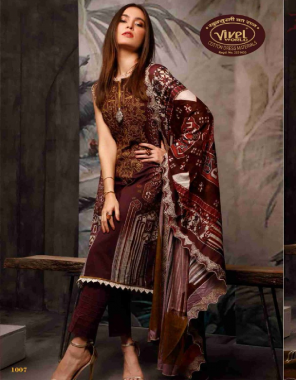 brown cotton | top - 2.40 m | bottom - 2.0 m | dupatta - 2.25m fabric printed work casual
