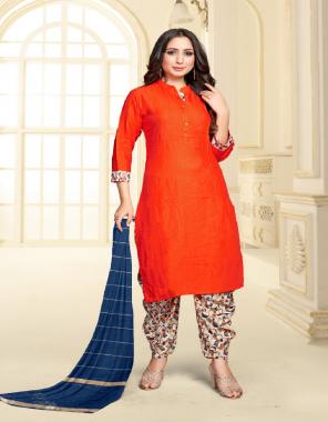 orange top - heavy viscose rayon | patiyala - crepe digital print | dupatta - fancy weaving zari dupatta  fabric digital printed work casual