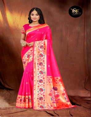 pink art silk fabric jacquard + weaving work casual