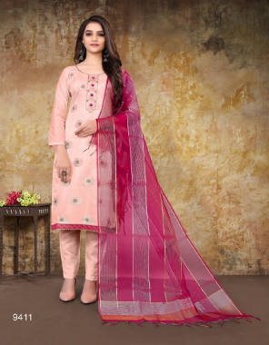 pink top - glass cotton | modal chanderi | bottom - semi lawn | santoon | inner - santoon | dupatta - fancy | banarasi , nazmin  fabric hand work work festive