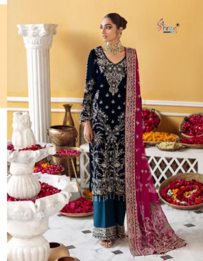 navy blue top - pure 9000 velvet with exclusive embroidery   bottom - pashmina 1 des banarasi jacquard   dupatta - embroidery net [ paskistani copy ] fabric embroidery work casual