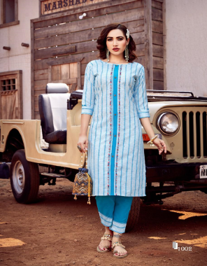 sky blue top - 100% cotton & linen handloom with kalimudi hand work   bottom - cotton slub dobby  fabric hand work work casual