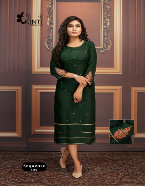 dark green rayon | length - 44 approx  fabric sequance + embroidery work festive