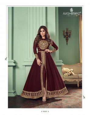 maroon top - real georgette   inner - silk santoon   bottom - silk santoon   dupatta - real georgette  fabric embroidery work ethnic