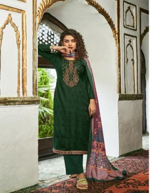 dark green top - pure pashmina print kashmiri embroidery work with lace border   dupatta - pashmina shawl digital print with arca lace   bottom - pashmina fabric embroidery work casual