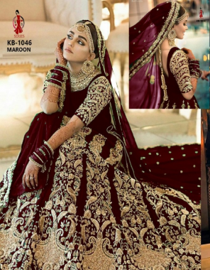 maroon 9000 markable velvet + beautiful embroidery work fancy dori work + full on diamonds + with big can can and canvas added its to stand can can [ master copy ] fabric embroidery work  work wedding