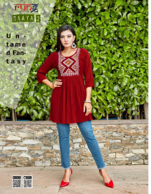 maroon heavy slub rayon with manual embroidery  fabric embroidery work casual