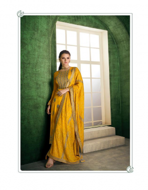 yellow top - heavy airtex chinon feel pure viscose with embroidery with heavy hand work   bottom - daul santoon   dupatta - heavy airtex chinon feel pure viscose with handwork for side lace work fabric embroidery work ethnic