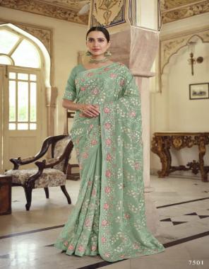 green saree - satin georgette | chiffon | soft net | blouse - satin georgette | chiffon | soft net fabric gota resham + dori + zarkan + resham work casual