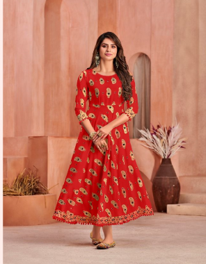 red pure 14kg rayon print gown with pum - pum lace fabric printed work festive