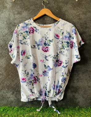 white imported fabric   length - 21.5 inch  fabric printed work casual