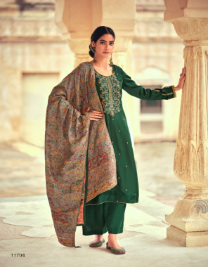 dark green top - tussar silk with embroidery   bottom - dull santoon   dupatta - pure viscose meena weave jacquard fabric embroidery work ethnic