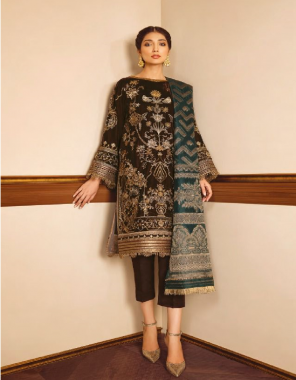brown top - pure velvet with embroidery | bottom - pure viscose pashmina / jacquard | dupatta - net with embroidery / jacquard [ pakistani copy ] fabric embroidery work causal