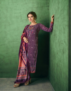 purple top - pure 9000 velvet with digital print with additional handwork | bottom - viscose pashmina | dupatta - pure 9000 velvet with digital print with four side lace  fabric digital printed work causal