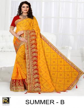 yellow georgette bandhani  fabric printed work casual