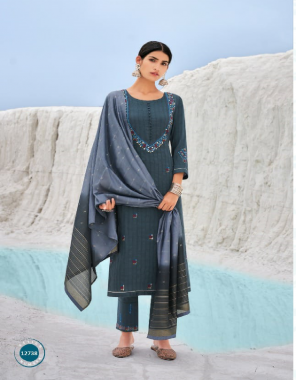 blue top - lining parampara silk with embroidery work & mirror work | pant - chinon silk with work | dupatta - chanderi silk with jari & sequance work with padding colour  fabric embroidery work casual