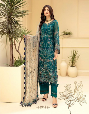 rama blue top - faux georgette with heavy embroidery and handwork  bottom - santoon   dupatta - butterfly net with heavy embroidery and two side border [ pakistani copy ] fabric embroidery work casual